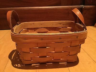 LONGABERGER 2000 Small Berry Basket with Leather Straps WCG EUC