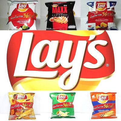 (+36%)6 FLAVOR X13g. LAY LAY'S POTATO CHIPS CRISPY SNACK FOOD THAI SEASONING .