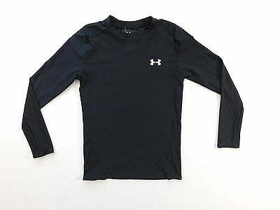 Under Armour UA Boys Long Sleeve t Shirt Size L Large YLG Black COmpression Gym
