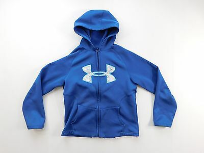 Under Armour UA Boys Hoodie Size M Medium Ocean Blue Polyester Full Zipper