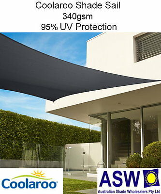 5.4m x 5.4m Square GRAPHITE Coolaroo Commercial SHADE SAIL Shadecloth SSC54SG