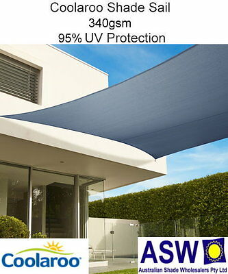 5m x 3m Rectangle SLATE Coolaroo Commercial SHADE SAIL Shadecloth 95%UV SSC53RSL