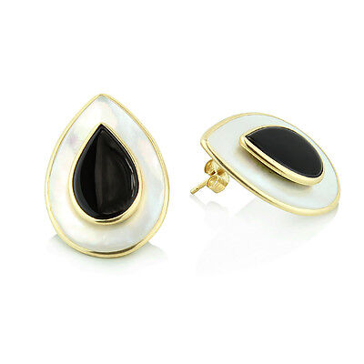 14K Yellow Gold Gemstone Earrings With Mother Of Pearl And Black Onyx