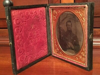 Civil War 1/6th plate Ambrotype Confederate Soldier, North Carolina? Full Case