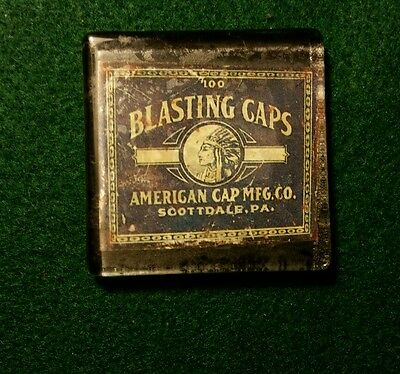 """Vintage Style American Cap Blasting Caps Glass Paperweight...1/8"""" thick..."""