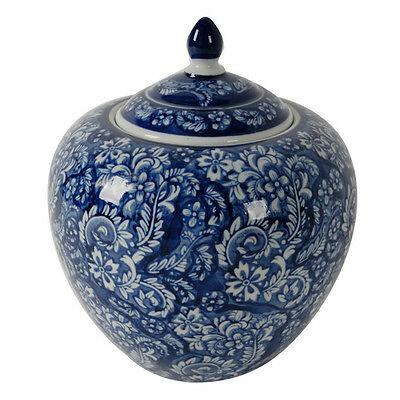 HAMPTONS STYLE CLASSIC BLUE AND WHITE CERAMIC PORCELAIN GINGER JAR (25cm)