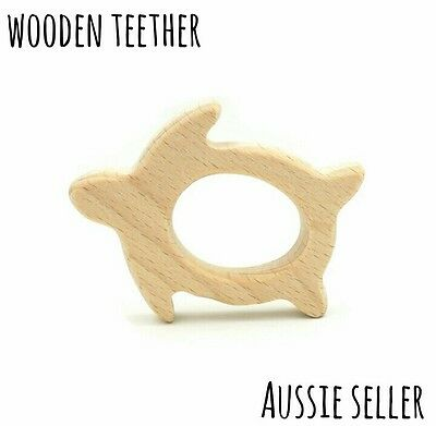 Natural organic wooden teether baby teething toy necklace large DIY ring turtle