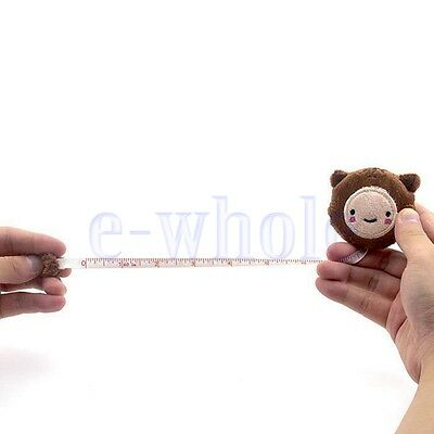 Cute Retractable 60inch Tape Ruler Measure Sewing Cloth Dieting Tailor Brown WT