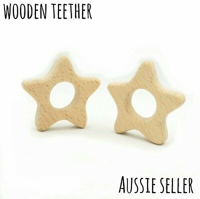 Natural organic wooden teether baby teething toy necklace large DIY ring star