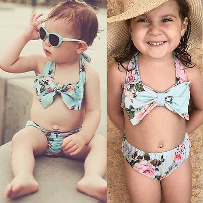 Kids Baby Girls Two Piece Swimwear Bikini Set Swimsuit Swimmers Bathers Clothes