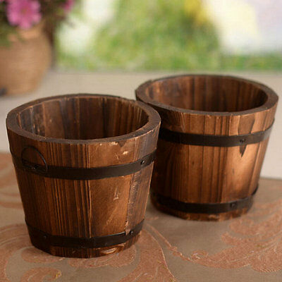 Wooden Garden Treasure Round Barrel Outdoor Pot Home-Decor Flower Planter Retro