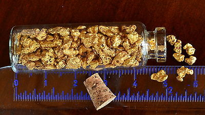 Genuine and natural Australian Gold Nuggets; 1 Troy Ounce (31.1 gram) in vial