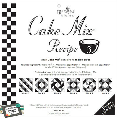 Quilting Sewing Quilt Pattern MODA CAKE MIX 3, Preprinted Cheats for Patchwork