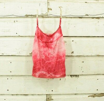 vintage hand dyed red & white floral camisole slip top lace details S M
