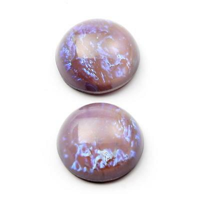 (2) 18mm Czech vintage Dragons breath fuchsia satin moonglow glass cabochons