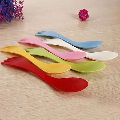 6Pcs Portable Spoon Fork Knife Camping Utensils Kitchen Cutlery Travel Random