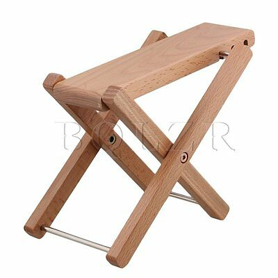 BQLZR Foldable Wood Color Solid Wood 3-Level Height Guitar Pedal Foot Rest