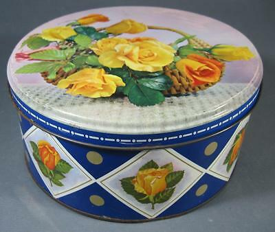 Shabby vintage/retro 60s biscuit tin chic floral yellow roses/floral motif chic