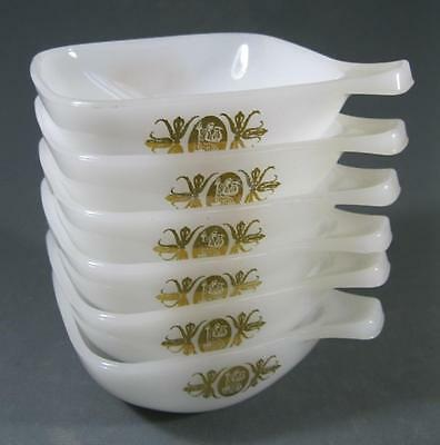 Retro/vintage 60s-70s pyrex milk glass with gold pattern ramekin set x 6 Agee