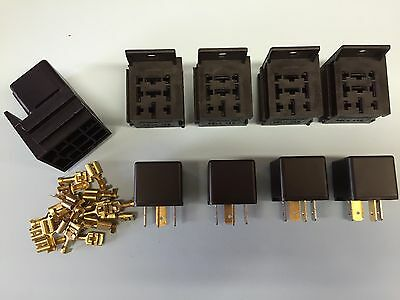 5 x 12V 40A 4 pin relay with holders and terminals