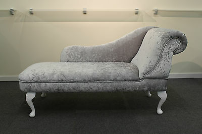 Traditional Chaise Longue in Silver Crushed Velvet Fabric NEW