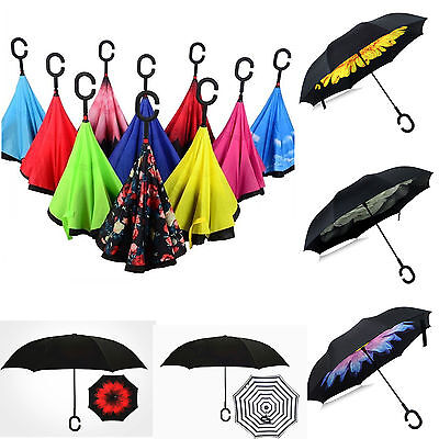 C-Handle Double Layer Umbrella Windproof Folding Inverted Upside Down Reverses