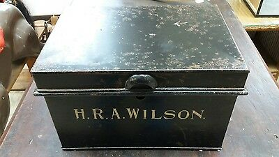 Antique industrial style metal fireproof strong box or deed box lovely condition