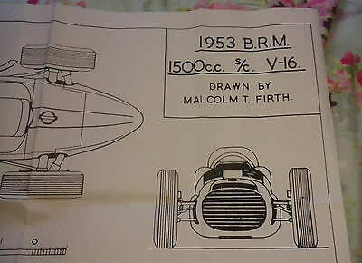 A1 plan drawing of 1953 V16 BRM