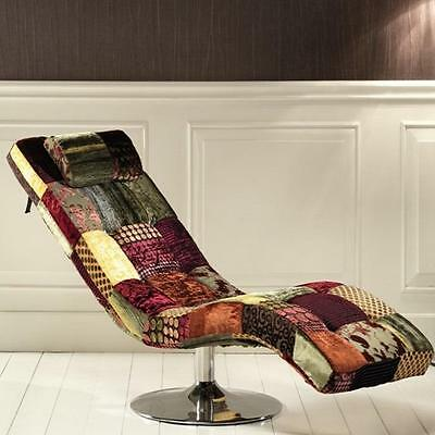 Chaise Longue Sleeper patchwork structure chromed cotone o velvet
