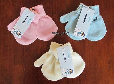 Baby Knitted Mittens Gloves Cream Pink Blue Boys Girls Winter Warm 0-12 Months
