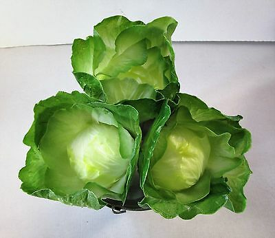 Pack of 3 Small Artificial Cabbages - 14cm - Decorative Fake Plastic Vegetables