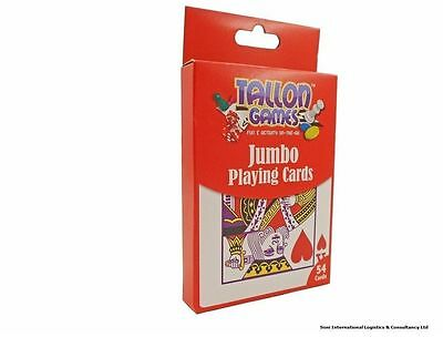JUMBO LARGE PLASTIC COATED PLAYING CARDS FULL DECK FOR KIDS OR ADULTS 13 x 9 cm