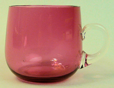 Victorian Antique Cranberry & Clear Glass Custard Cup C.1880