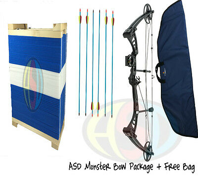 ASD Black Monster Compound Archery Bow PACKAGE 5 Inc Target W/ Free Bow Bag