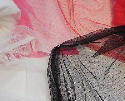 black / rose pink / red / ivory bridal wedding dot soft tulle fabric Per0.5Meter