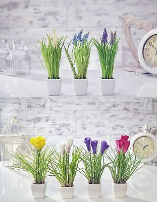 Artificial Crocus Flowers Plants in Pot  Home Decor Garden Red, White & Yellow