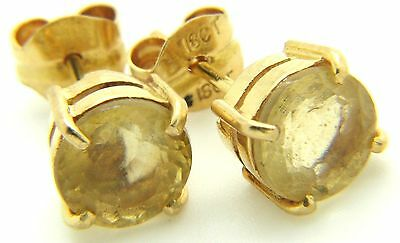 Pair Of 18ct 18Carat Yellow Gold Round 7.0mm Citrine Solitaire Stud Earrings