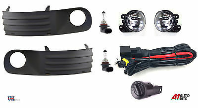 Vw T5 Transporter 03-10 + Fog Light Grille Kit Set + Wiring + Headlight Switch