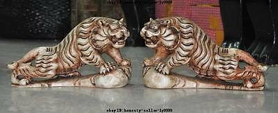 """11""""china fengshui old white jade master hand-carved tiger king beast statue pair"""