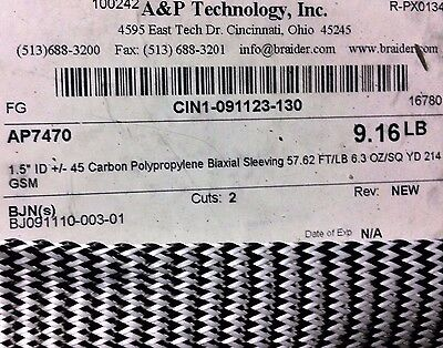 "A & P Technology 1.50"" ID Braided Carbon / Polypro Biaxial Sleeving 6.2 oz/Yard"