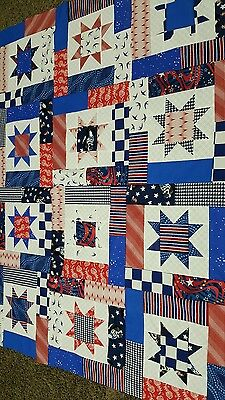 Handmade Lucky Star  Patriotic Quilt Top  Approx. 60X 48 In.(Unfinished)