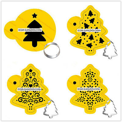 4 Pcs Packed Christmas T Cookie Cake Stencil Decorate Mould Fondant Biscuit Tool