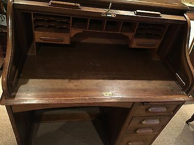Antique Edwardian Lebus Oak Roll Top Tambour Desk - excellent condition