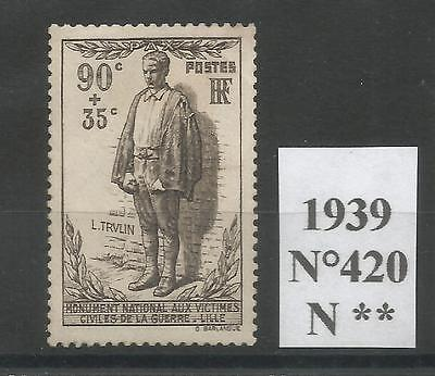 FRANCE 1939  n°420 Neuf ** Luxe