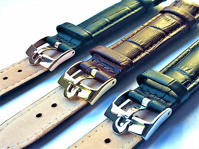 18Mm/20Mm Omega Genuine Leather Watch Strap Black/brown S.s/g.p/r.g Buckle