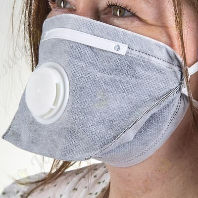 SET OF 2 CARBON LAYER FOLD FLAT DISPOSABLE VALVED FACE MASKS Painting Dust PPE