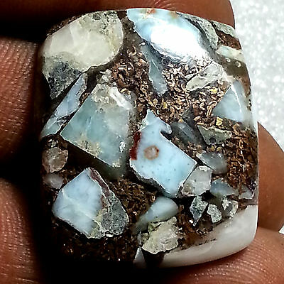 33.90 Cts Natural New Copper Larimar Classy Octagon Cabochon Untreated Gemstone
