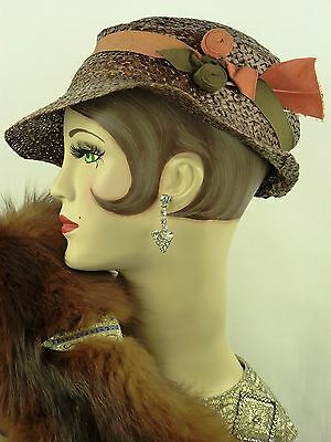 VINTAGE HAT 1930s FRENCH SLOUCH HAT BROWN LACQUERED STRAW, RIBBON TRIM & HAT PIN