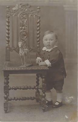 Little Edwardian Boy With Toy Horse  Vintage Photo  Postcard
