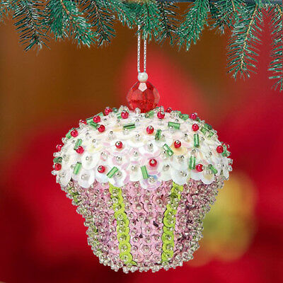 Kit makes 2 Pink Cupcake   Bead Sequin Ornaments Christmas Craft